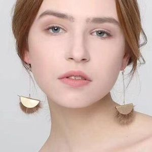 Boho chic Metal Pom Pom Disc Gold Drop Earrings